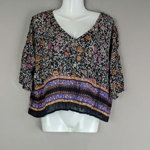 Band of Gypsies | Floral V Neck Cropped Top Boho M